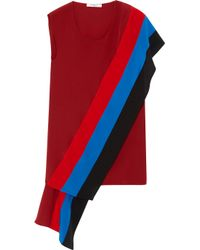 Givenchy Red Silk Crepe De Chine Top With Draped Panels