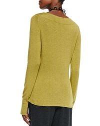 Eileen Fisher - Green Glovette-Sleeve Stretch Knit Top - Lyst