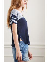 Forever 21 - Blue Varsity-striped Linen Tee - Lyst