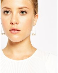 ASOS | Metallic Double Faux Pearl Through Earrings | Lyst