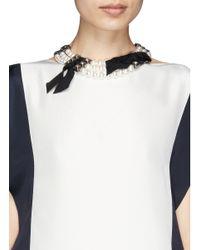 Lanvin | White Faux Pearl Grosgrain Ribbon Choker Necklace | Lyst