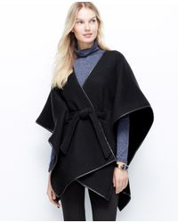 Ann Taylor | Black Faux Leather Trim Belted Cape | Lyst