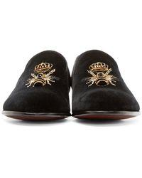 Dolce & Gabbana   Black Velvet Bee And Crown Slippers for Men   Lyst