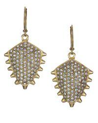 Sam Edelman | Metallic Goldtone And Crystal Pave Stud Drop Earrings | Lyst