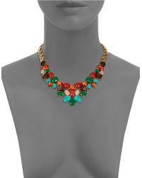 Kate Spade | Metallic Gold-tone Multicolor Stone Necklace | Lyst