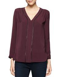 Calvin Klein Jeans | Purple Zipper Accented Blouse | Lyst