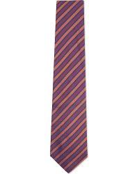 Turnbull & Asser - Herringbone Striped Silk Tie, Men's, Red Orng for Men - Lyst