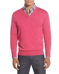 Peter Millar | Pink Merino V-neck Sweater for Men | Lyst