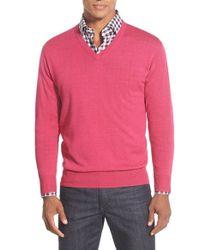 Peter Millar - Pink Merino V-neck Sweater for Men - Lyst