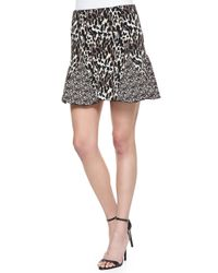 Parker Multicolor Kenna Mixed Animal-Print Godet Skirt