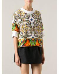 Dolce & Gabbana Multicolor Fruit Floral Print Top