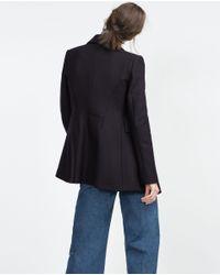 Zara | Blue Short Coat | Lyst