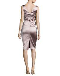 Talbot Runhof - Metallic Dowina Sleeveless Ruched Satin Cocktail Dress - Lyst