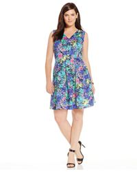Spense | Blue Plus Size V-neck Floral-print Dress | Lyst