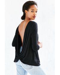 Project Social T Black Delia Surplice-back Top