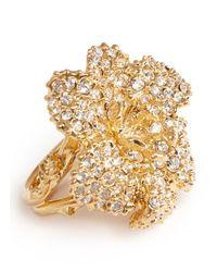 Alexander McQueen Metallic Swarovski Crystal Flower Ring