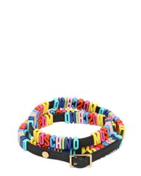 Moschino Black Leather Bracelet With Logo Lettering