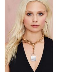 Nasty Gal Metallic Lockdown Chain Necklace