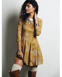 Free People Yellow Womens Key To My Heart Fit And Flare