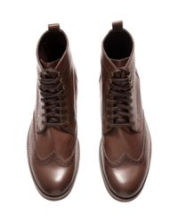 H&M Brown Lace-Up Brogue-Pattern Boots for men