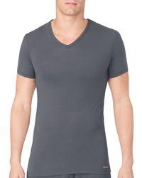Calvin Klein - Gray V-neck Tee for Men - Lyst