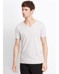 Vince | White Jaspé Feeder Stripe Favorite V-neck Tee for Men | Lyst