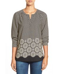 Pleione | Black Border Print Split Neck Blouse | Lyst