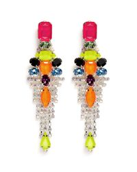 Assad Mounser - Multicolor Neon Stone And Clear Crystal Drop Earrings - Lyst