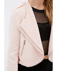 Forever 21 | Pink Zippered Tiered-lapel Jacket | Lyst