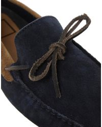 ASOS Blue Driving Shoes In Suede for men