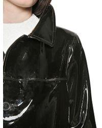 Saint Laurent Black Patent Leather Coat