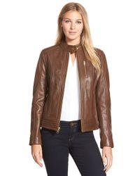 MICHAEL Michael Kors Brown Zip Front Lambskin Leather Stand Collar Jacket