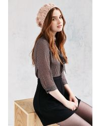 Urban Outfitters Pink Braided Cable Beret