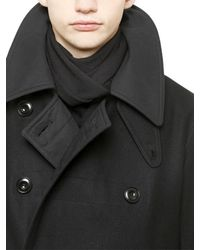 Christophe Lemaire Black Double Breasted Wool Felt Coat for men