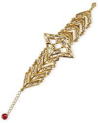 Tru. - Purple Gold-tone Matte Antique Chevron Bracelet - Lyst