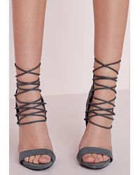 Missguided - Gray Woven Detail Barely There Heeled Sandals Grey - Lyst