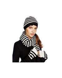 kate spade new york - Black Merino Wool Striped Scarf - Lyst