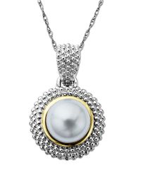 Lord & Taylor | Metallic Pearl Pendant In Sterling Silver With 14 Kt. Yellow Gold | Lyst
