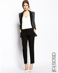 ASOS - Black Tall Cigarette Trousers In Crepe - Lyst
