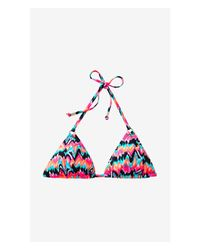Express Pink Adjustable Triangle Bikini Swim Top - Brushstroke