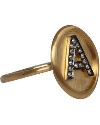 Annoushka | Metallic Gold Diamond Letter A Alphabet Ring | Lyst