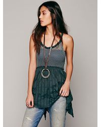Free People | Green Knotted Babydoll Tunic | Lyst