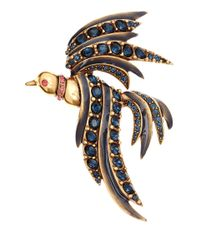 Oscar de la Renta Blue Bird Crystal Brooch