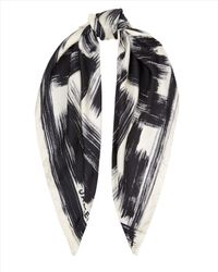 Jaeger White Silk Brush Stroke Scarf