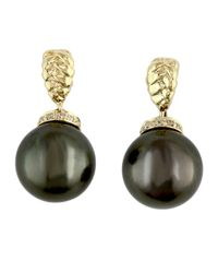 Effy | Black 10mm Tahitian Pearl, Pave Diamond And 14k Yellow Gold Drop Earrings | Lyst