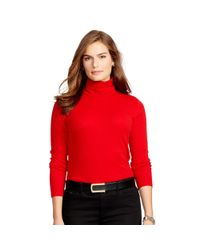 Ralph Lauren | Red Ribbed Cotton Turtleneck | Lyst