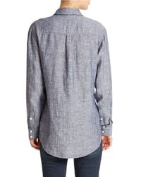 Lord & Taylor | Gray Petite Chambray Linen Blouse | Lyst