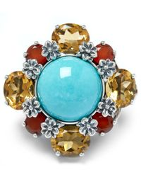 Stephen Dweck | Metallic Sterling Silver Multi-stone Turquoise Citrine Ring | Lyst
