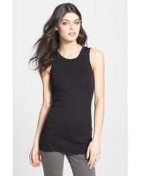 James Perse | Black Crewneck Long Rib Tank | Lyst