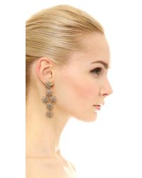 Oscar de la Renta - Natural Crystal Pave Flower Drop Earrings - Lyst